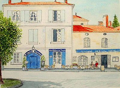 Painting - Deux Cafes S'il Vous Plait - Bourdeilles by Peter Farrow
