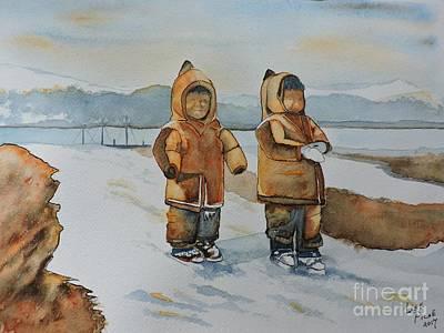 Deux Enfants Inuit Circa 1925 Original