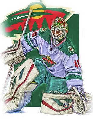 Hockey Mixed Media - Devan Dubnyk Minnesota Wild Oil Art by Joe Hamilton