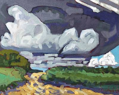 Skyscape Painting - Developing Towers by Phil Chadwick