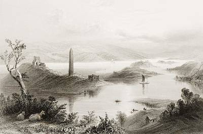Steel Drawing - Devenish Island, Loch Erne, County by Vintage Design Pics