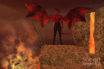 Devil Creature In Hell Art Print by Corey Ford