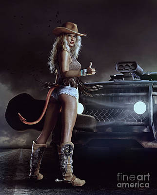 Beautiful Cowboy Art Digital Art - Devil In Blue Jeans by Shanina Conway