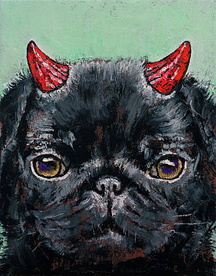 Devil Pug Print by Michael Creese