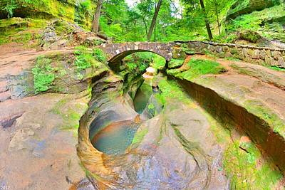 Photograph - Devil's Bathtub And Bridge At Hocking Hills by Lisa Wooten