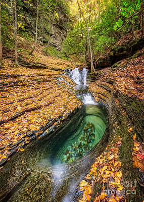 Devils Bathtub Autumn Art Print by Anthony Heflin