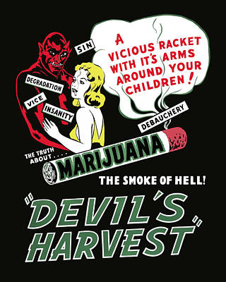 Weed Digital Art - Devil's Harvest Theater Lobby Ad  1942 by Daniel Hagerman