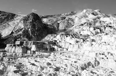 Photograph - Devils Thumb Formation Mammoth Hot Springs Yellowstone National Park Black And White by Shawn O'Brien