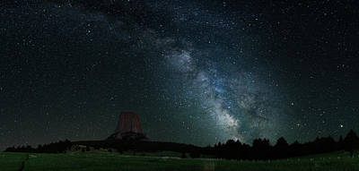 Photograph - Devil's Tower And Milky Way Panorama by Gary Lengyel