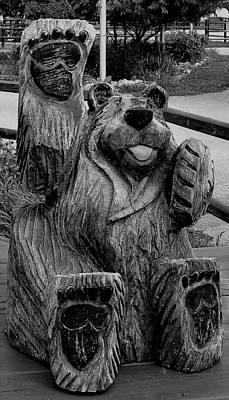 Photograph - Devil's Tower Bear1 B W by Rob Hans