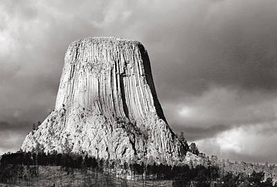 Devil's Tower Black And White Art Print