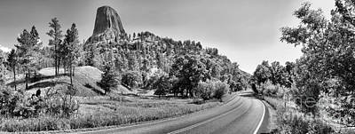Photograph - Devils Tower Road Panorama - Black And White by Adam Jewell