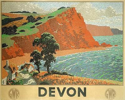 Painting - Devon Beach Vintage Travel Poster by Studio Grafiikka
