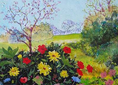 Mixed Media - Devon Countryside Landscape Painting by Mike Jory