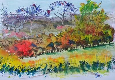 Mixed Media - Devon Landscape Paint Sketch by Mike Jory