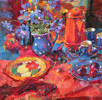 Floral Still Life Painting - Devon Morning by Peter Graham