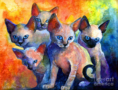 Watercolor Pet Portraits Painting - Devon Rex Kitten Cats by Svetlana Novikova