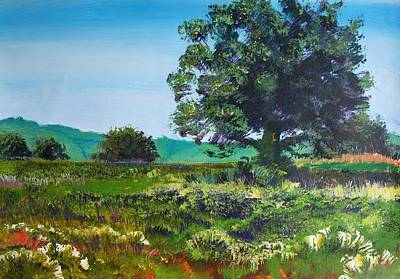Painting - Devon Sun - Tree And Meadow Summer Day by Mike Jory