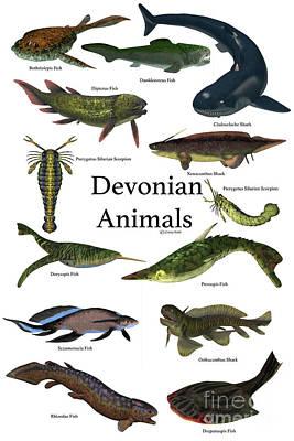 Devonian Animals Art Print by Corey Ford