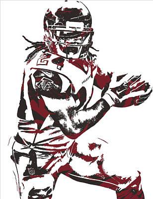 Falcon Mixed Media - Devonta Freeman Atlanta Falcons Pixel Art 10 by Joe Hamilton