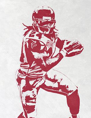 Falcon Mixed Media - Devonta Freeman Atlanta Falcons Pixel Art by Joe Hamilton