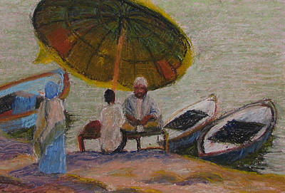 Pastel - Devotees At The Ganges River by Art Nomad Sandra  Hansen