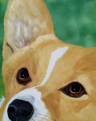 Devotion-corgi Eyes Of Love Original by Debbie LaFrance