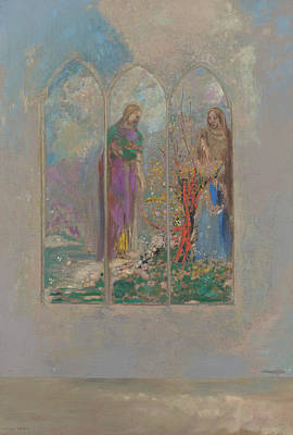 Devotion Near A Red Bush  Art Print by Odilon Redon
