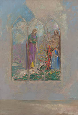 Painting - Devotion Near A Red Bush by Odilon Redon
