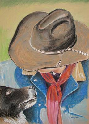 Working Cowboy Drawing - My Dog Is My Boss by Renee Benoit