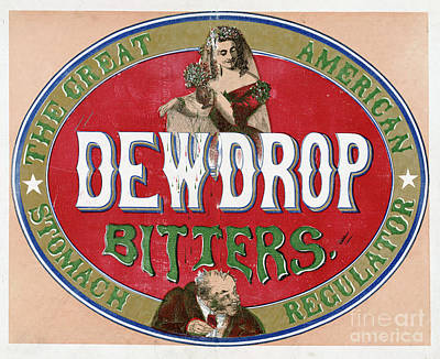 Mixed Media - Dew Drop Bitters Vintage Product Label by Edward Fielding