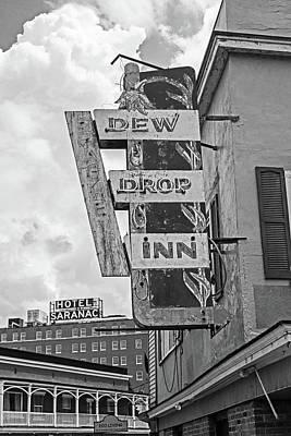 Photograph - Dew Drop Inn Saranac Lake New York Ny Hotel Saranac Black And White by Toby McGuire