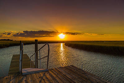 Photograph - Dewees Island Sunset On The Dock by Donnie Whitaker