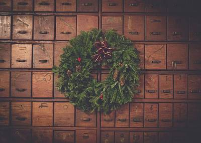Pine Cones Digital Art - Dewey Decimal Wreath by Billy Soden
