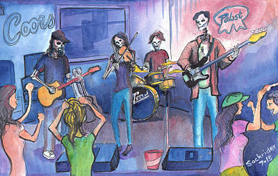 Painting - Dewey Paul Band by David Sockrider