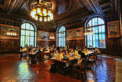 Photograph - Dewitt Wallace Periodical Room - N Y Public Library by Allen Beatty