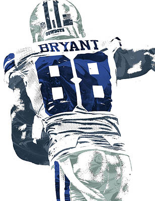 Bryant Mixed Media - Dex Bryant Dallas Cowboys Pixel Art 6 by Joe Hamilton