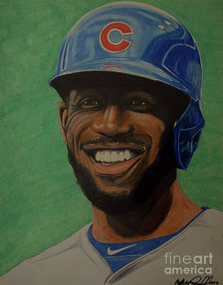 Wrigley Field Drawing - Dexter Fowler Portrait by Melissa Goodrich
