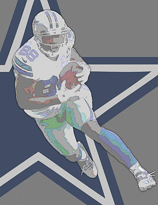 Mixed Media - Dez Bryant Dallas Cowboys Contour Art by Joe Hamilton