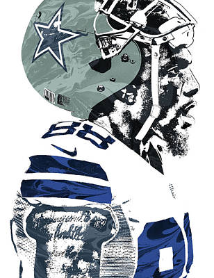 Mixed Media - Dez Bryant Dallas Cowboys Pixel Art 4 by Joe Hamilton