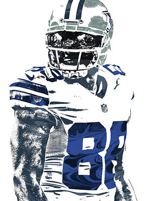 Bryant Mixed Media - Dez Bryant Dallas Cowboys Pixel Art 5 by Joe Hamilton