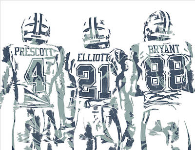 Mixed Media - Dez Bryant Ezekiel Elliott Dak Prescott Dallas Cowboys Pixel Art by Joe Hamilton