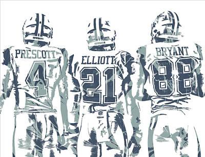 Bryant Mixed Media - Dez Bryant Ezekiel Elliott Dak Prescott Dallas Cowboys Pixel Art by Joe Hamilton