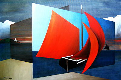 Painting - Ireland Australia Links..  Dublin.. Cian Setting Out For Iona by Val Byrne