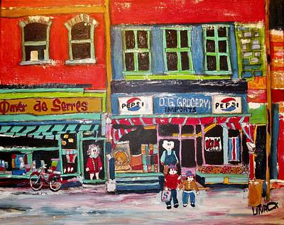 St. Lawrence Blvd Painting - D.g. Grocery And Omer De Serres On The Main by Michael Litvack