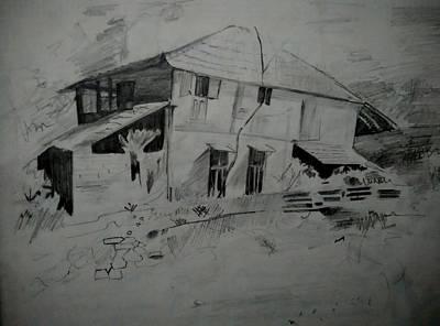French Door Drawing - Silence by Ashish Nautiyal