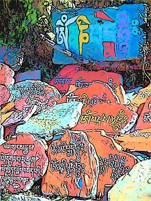 Photograph - Dharamsala Mani Stones by Lisa Dunn