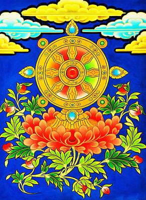 Vajrayana Painting - Dharma Wheel by Lanjee Chee