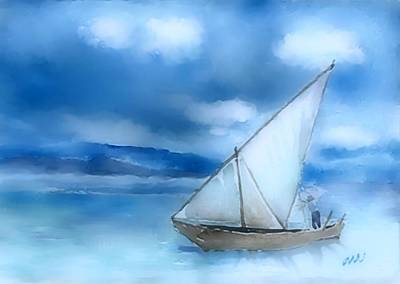 Sailboats Digital Art - Dhow Fishing Vessel by Arline Wagner