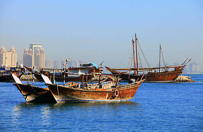 Dhow Photograph - Dhows In Doha Bay by Paul Cowan